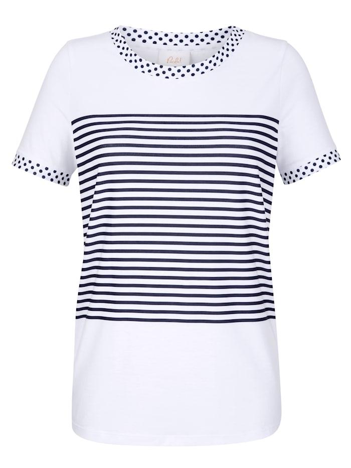 Shirt mit Puntke und Streifendruck
