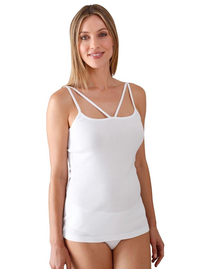Simone Hemdje met dubbele bandjes en kant aan de hals, Wit