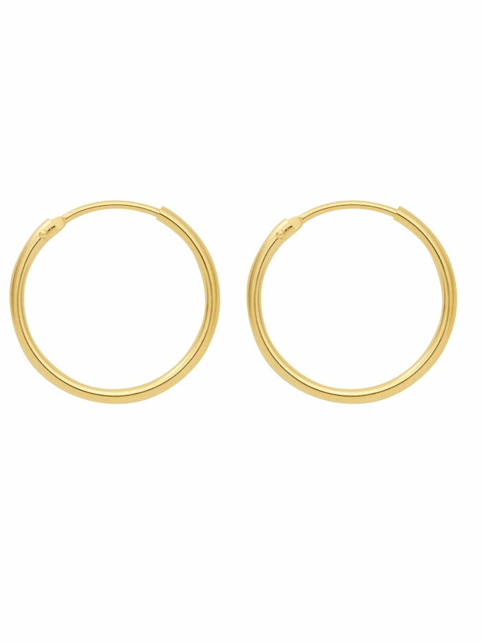 1001 Diamonds Damen Goldschmuck 585 Gold Ohrringe / Creolen Ø 13 mm, gold
