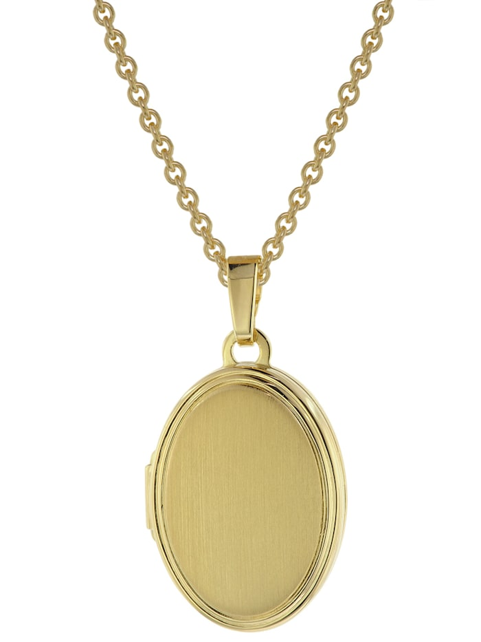 trendor Damen Medaillon mit Halskette Gold auf Silber 925, Goldfarben