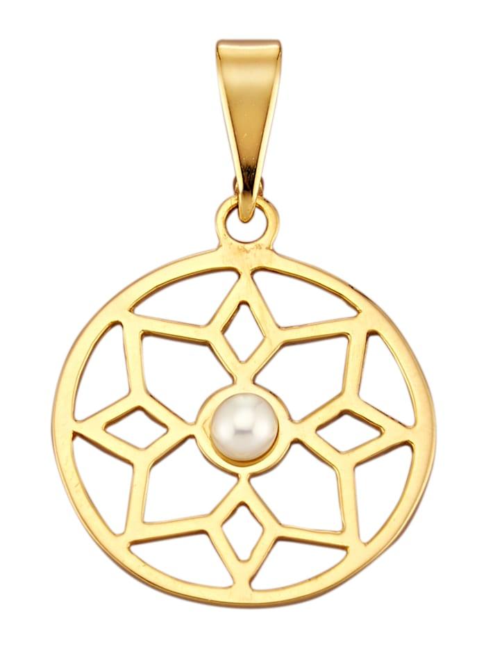 Pendentif avec perle de culture d'eau douce, Coloris or jaune