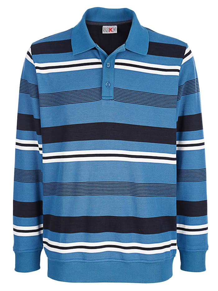 Roger Kent Sweatshirt mit Polokragen, Blau/Weiß