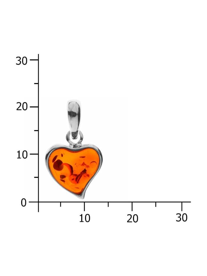 Anhänger - Herz - Silber 925/000 - Bernstein