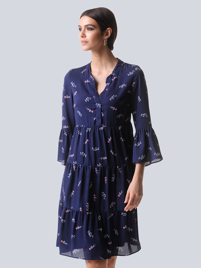 Alba Moda Kleid mit filigranem Herzchendruck, Marineblau/Rot/Off-white