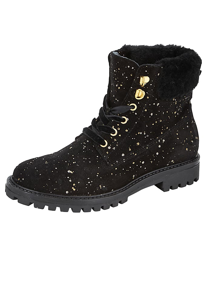 Lace-up Boots with shimmering polka dots, Black