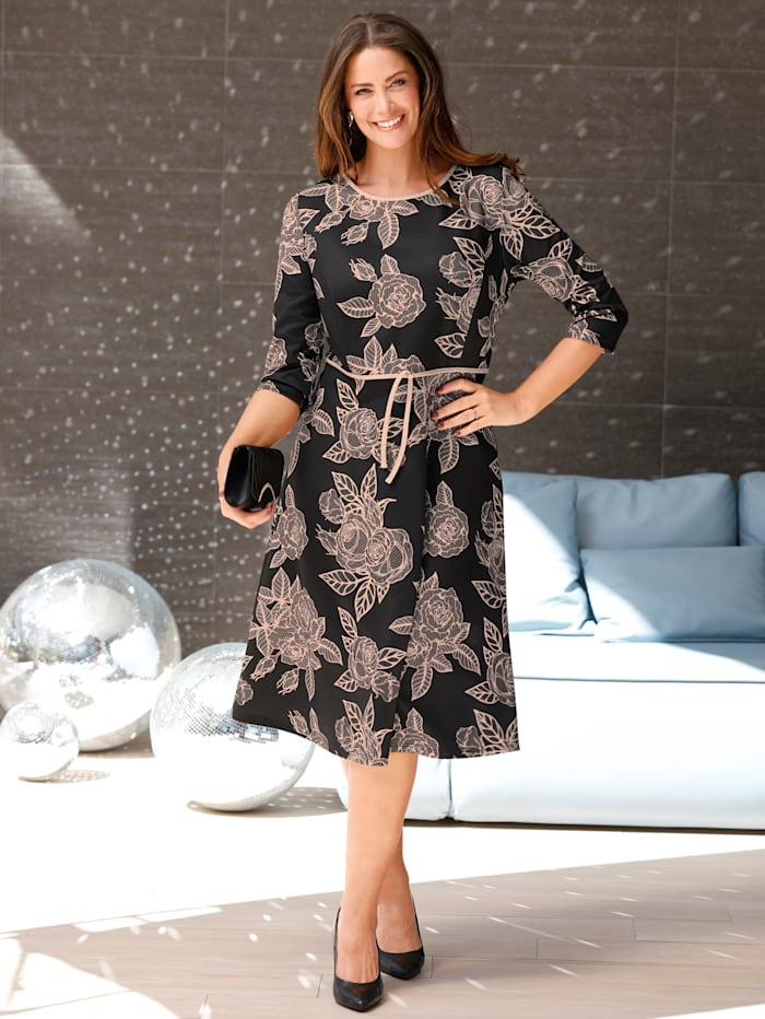 MIAMODA Robe à imprimé floral élégant, Noir/Beige