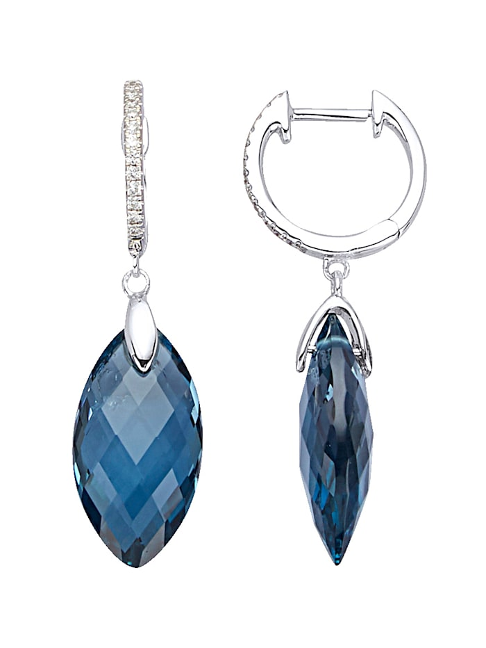 Ohrringe mit London-Blautopasen, Blau