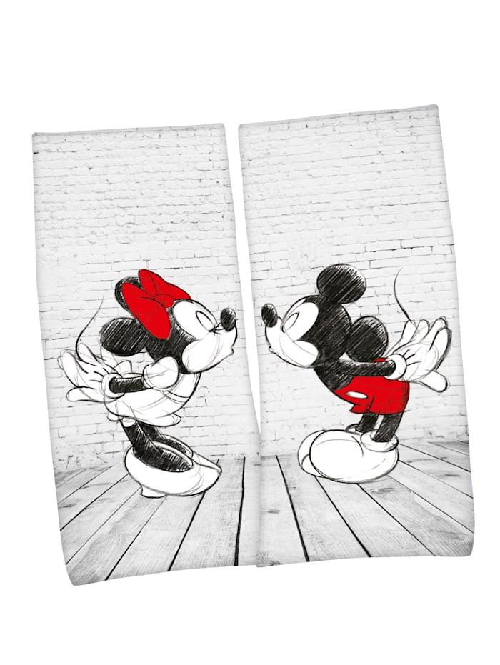 Herding 2 Stück Mickey & Minnie Badetücher, Multicolor