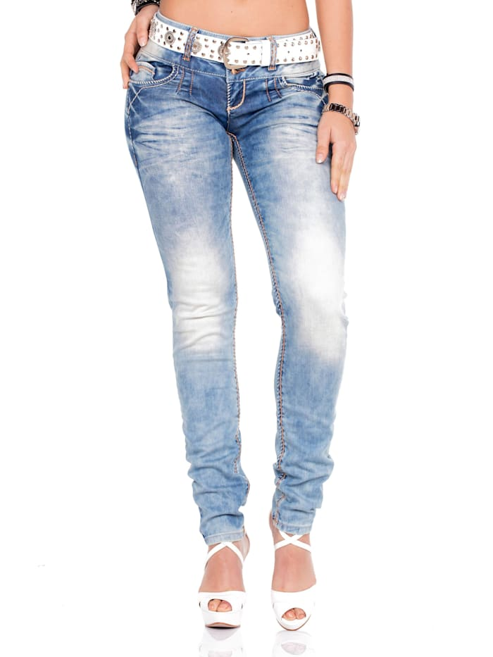 Cipo & Baxx Straight Fit-Jeans mit stylishem Gürtel, White