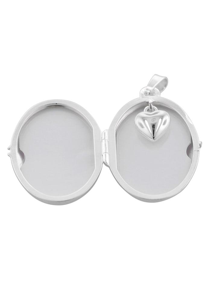 trendor Medaillon mit Herz-Einhänger und Halskette 925 Silber, Silberfarben