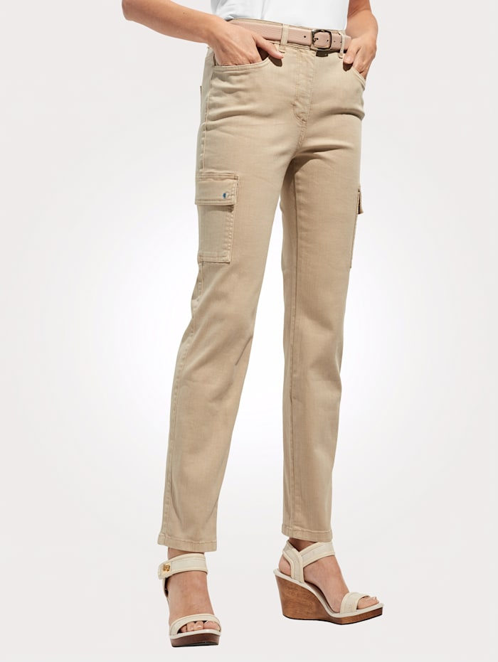 MONA Cargohose in moderner 5 Pocket- Form, Beige