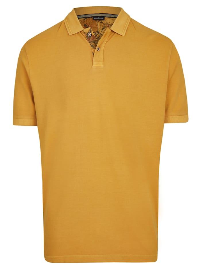 Daniel Hechter Polo-Shirt mit Struktur-Kragen, mustard