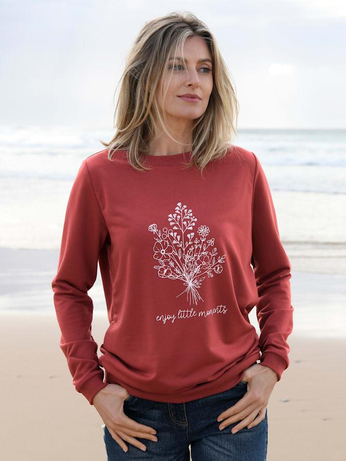basically you Sweatshirt met bloemenprint, Terracotta
