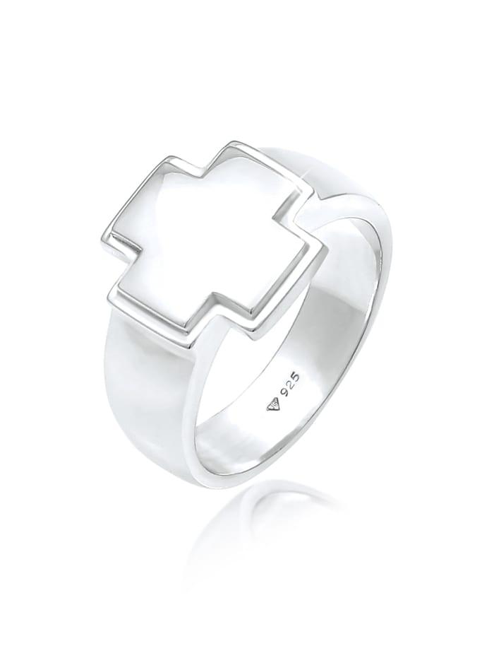 Kuzzoi Ring Herren Siegelring Bandring Kreuz 925 Silber, Silber
