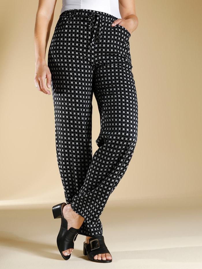 m. collection Pantalon en pure viscose, Blanc/Noir