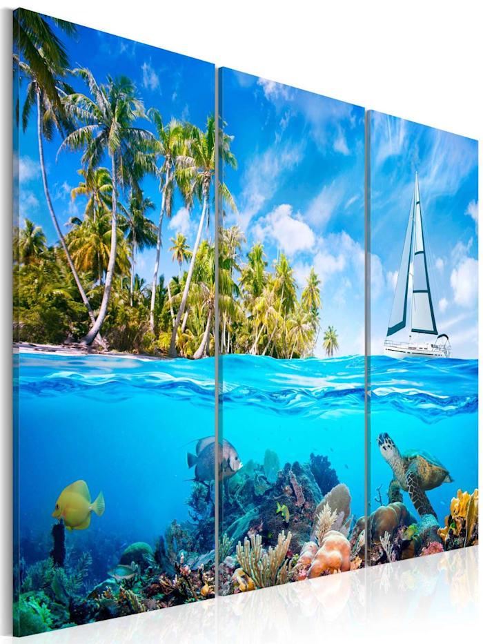 artgeist Wandbild Sonniger Urlaub, Blau,Grün,Weiß