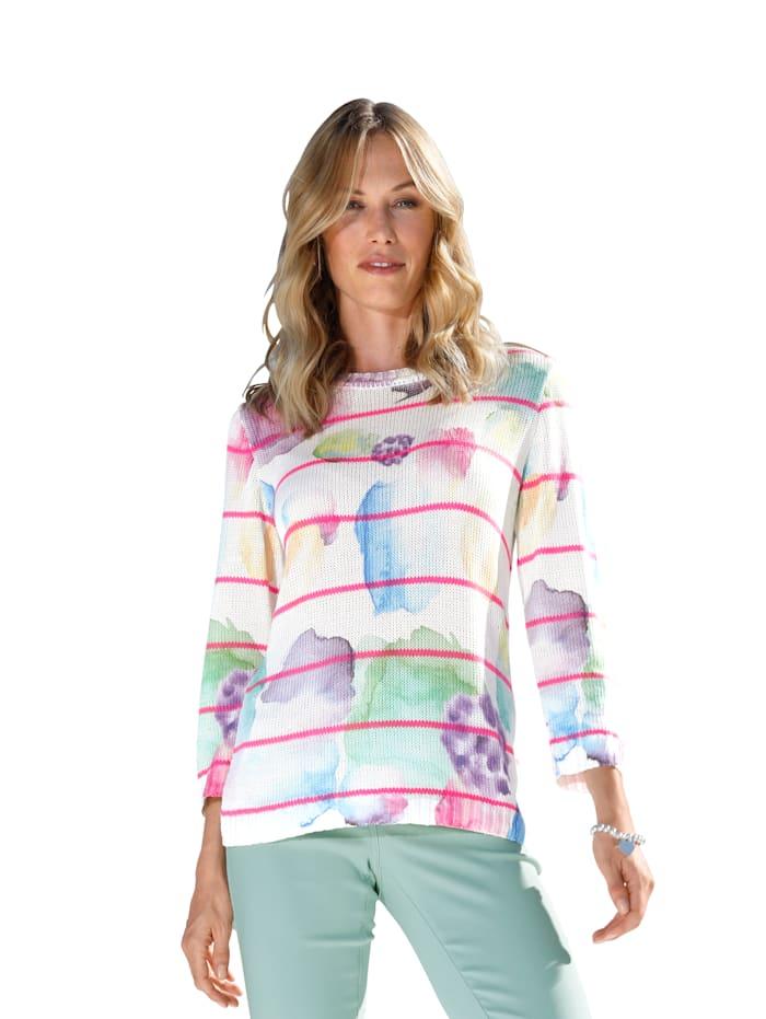 AMY VERMONT Trui met grafisch patroon, Offwhite/Pink/Blauw/Groen