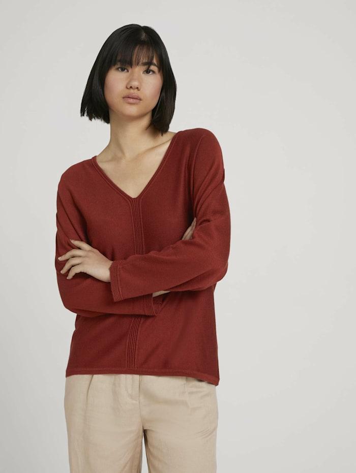 Tom Tailor Loose Fit Pullover mit LENZING(TM) ECOVERO(TM), dark maroon red
