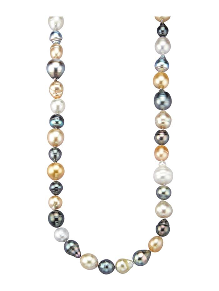 Diemer Perle Perlenkette mit Südsee- und Tahiti-Zuchtperlen, Multicolor