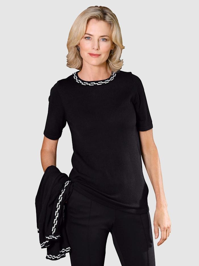 Paola Súprava s kontrastným pleteným vzorom, Čierna/Biela