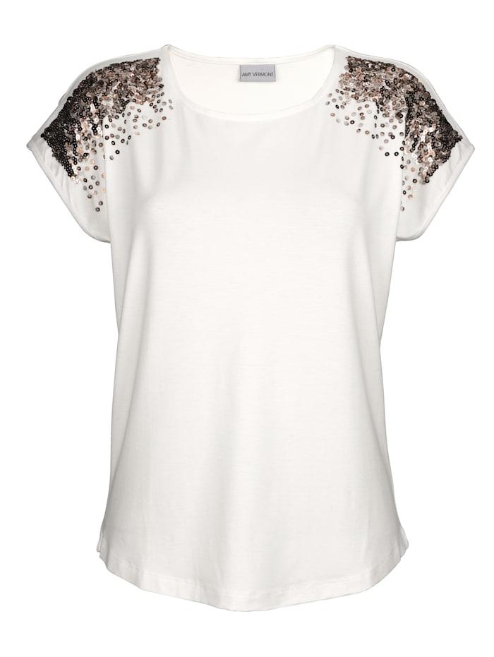 AMY VERMONT Shirt mit paillettenbesetzten Schultern, Off-white