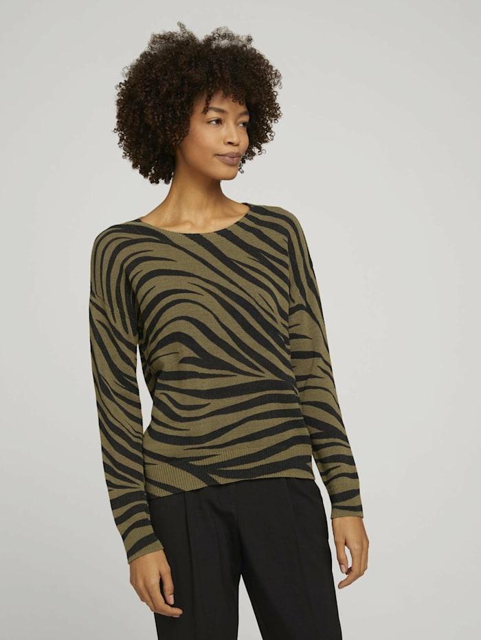 Tom Tailor mine to five Pullover im Zebra-Muster, olive zebra design