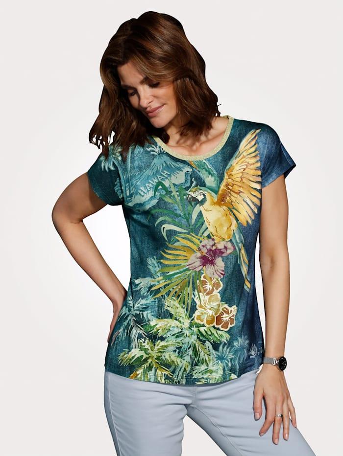 MONA Shirt in Jeansoptik, Rauchblau/Gelb/Grün