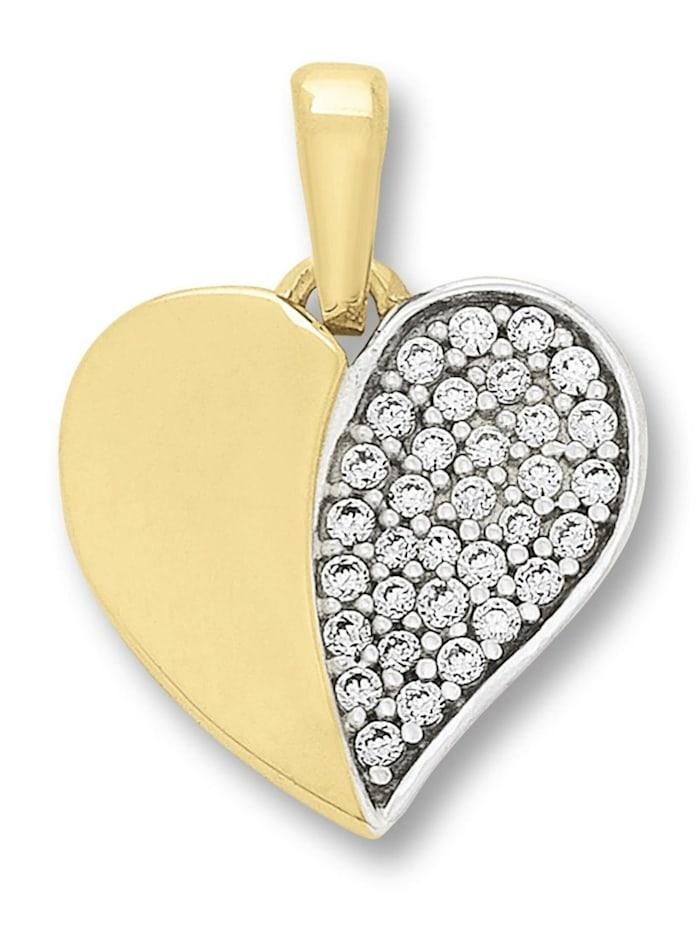 One Element Damen Schmuck Herz Anhänger aus 333 Gelbgold Zirkonia, gold