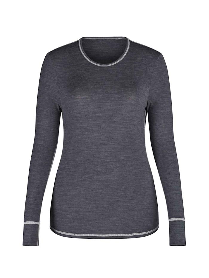 Skiny Funktions-Shirt mit Wolle, langarm Ökotex zertifiziert, anthracite melange