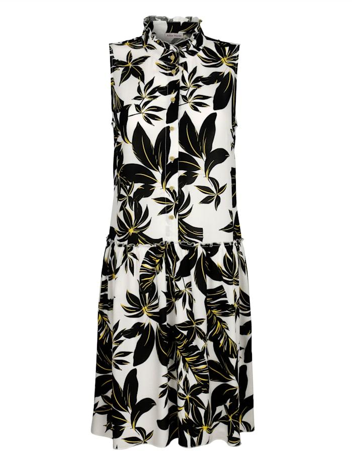 Alba Moda Strandkleid mit Stehkragen, Schwarz-Gelb