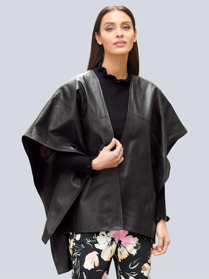 Alba Moda Leder-Cape in Oversized Form, Schwarz