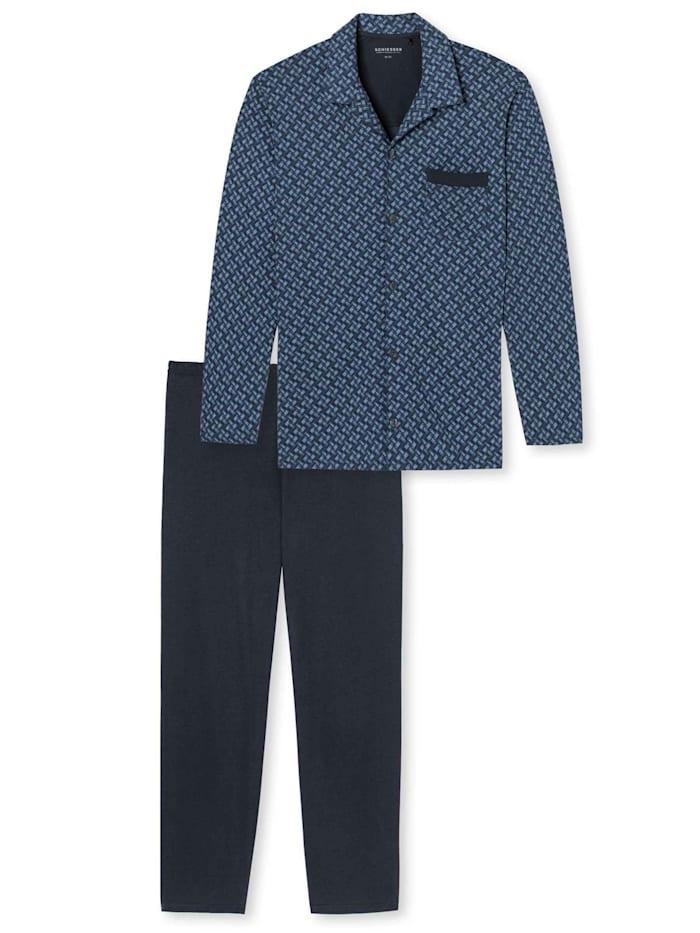 Schiesser Pyjama, durchgeknöpft Ökotex zertifiziert, dunkelblau