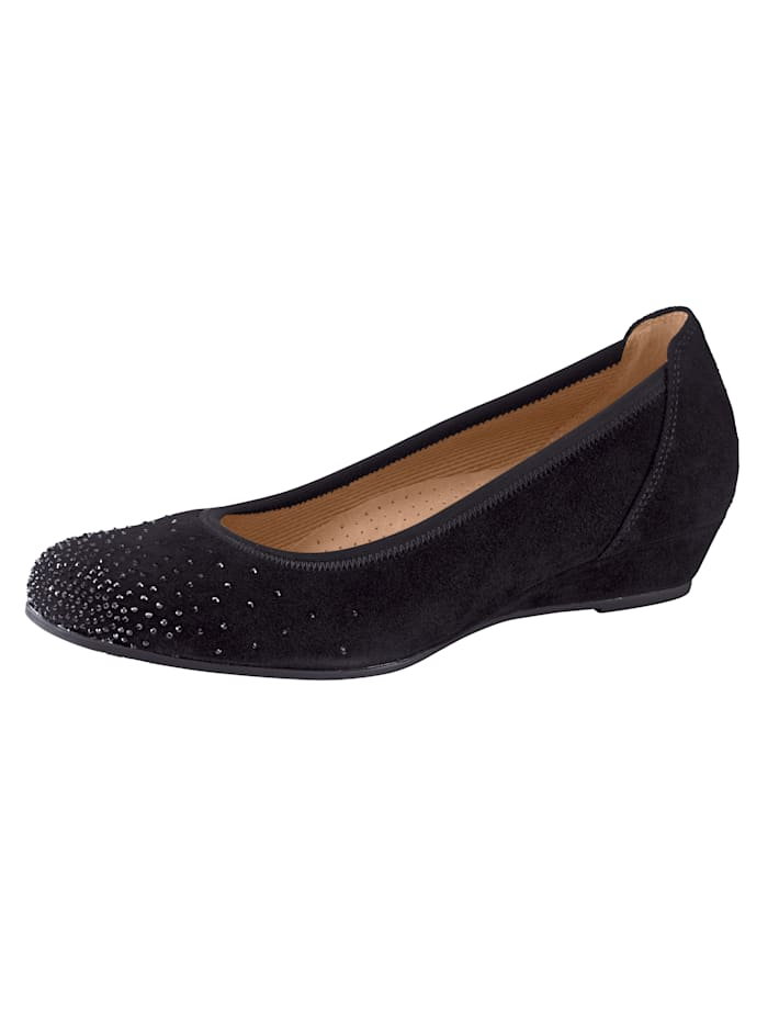Gabor Ballet Court shoes with a comfortable wedge heel, Black