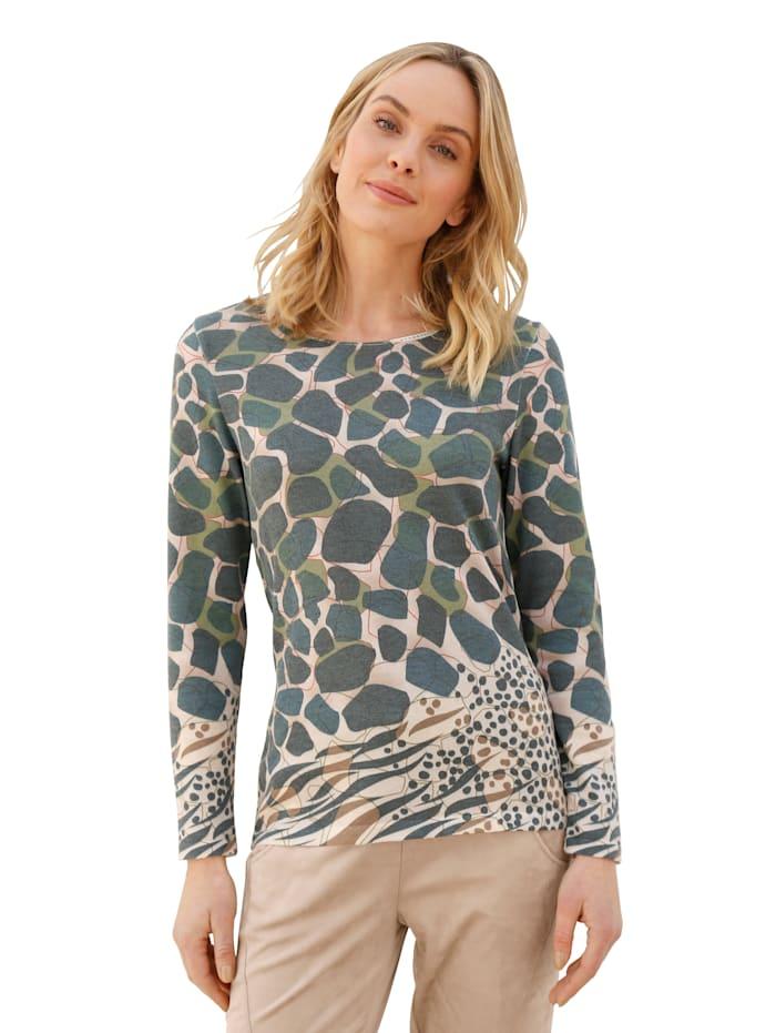 AMY VERMONT Pullover im Giraffen-Dessin, Beige/Oliv