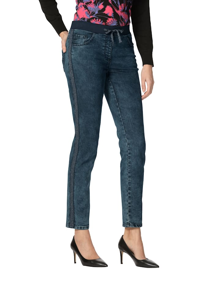 AMY VERMONT Jeans met sierband opzij, Blue bleached