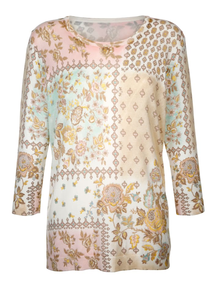 Kukkakuvioitu neulepusero