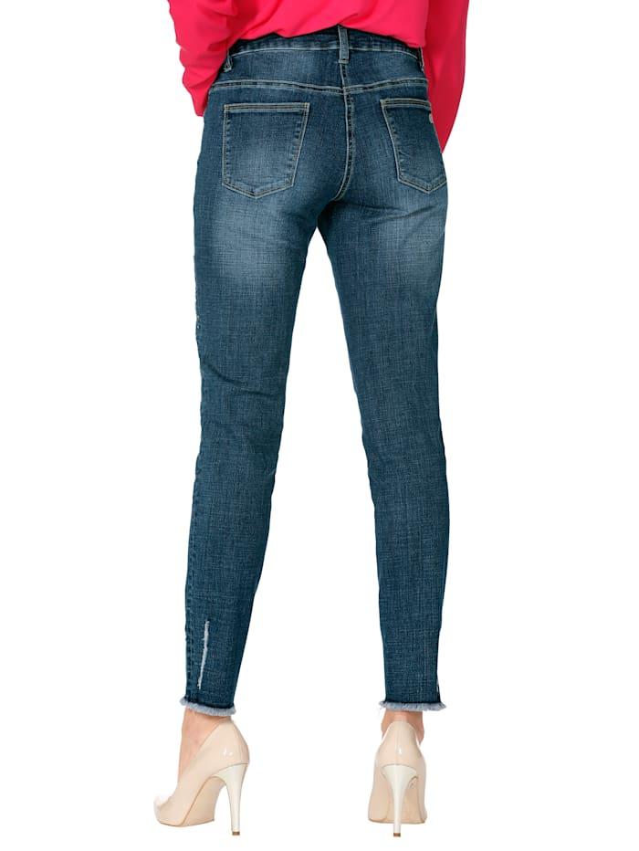 Jeans mit Blumenstickerei und Strasssteindekoration