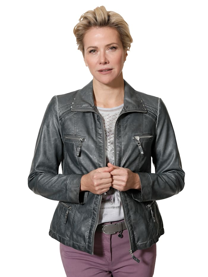 Faux leather jacket in a distressed finish