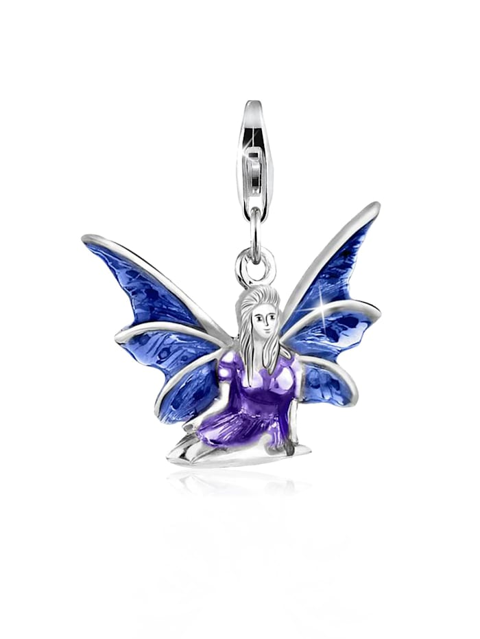 Nenalina Charm Elfe Emaille Fabel Märchen 925 Sterling Silber, Silber