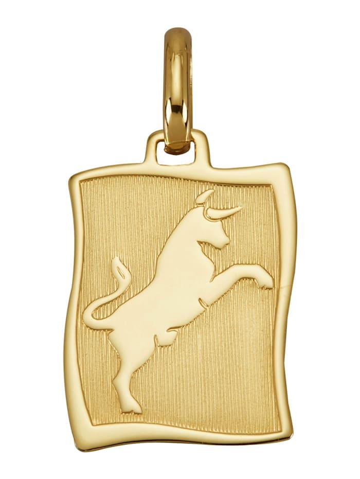 """Amara Or Pendentif avec pierre de naissance """"Taureau"""" en or jaune 585, Coloris or jaune"""