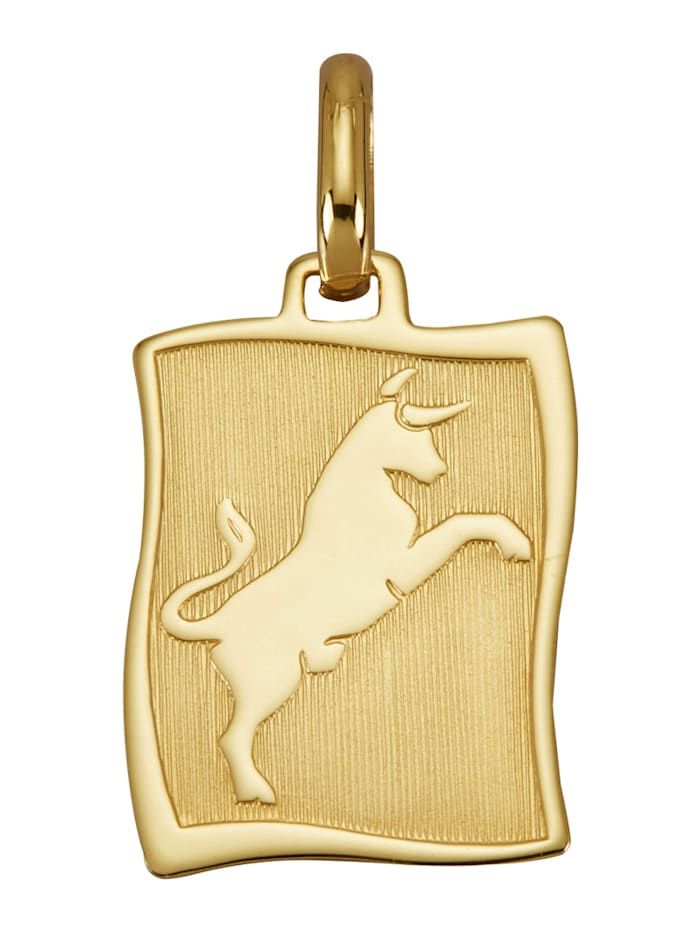 Diemer Gold Sternzeichen-Anhänger 'Stier' in Gelbgold 585, Gelbgoldfarben