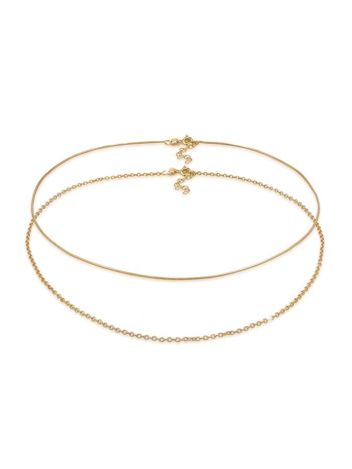 Elli Halskette Choker Set Basic Schlangen Ankerkette 925 Silber, Gold