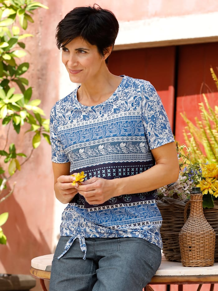 Paola Shirt mit Bindeband am Saum, Blau/Weiß