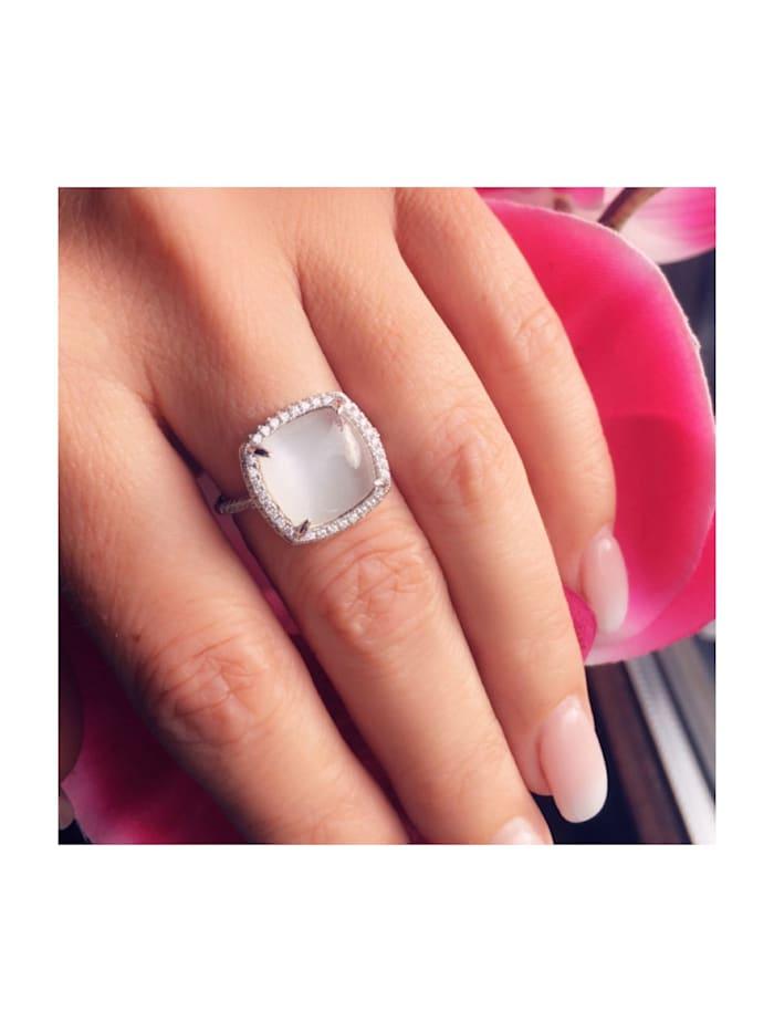 Ring Damenring 925 Silber synth. Mondstein