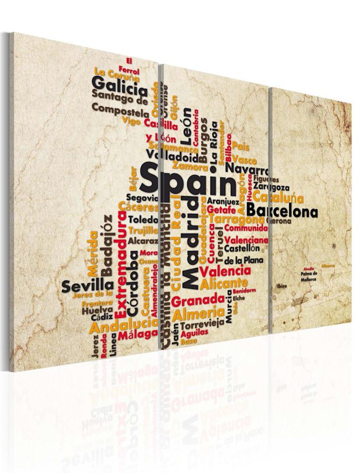 artgeist Wandbild Spanien: Landkarte in Nationalfarben, Schwarz,Orange,Creme,Grau,Rot