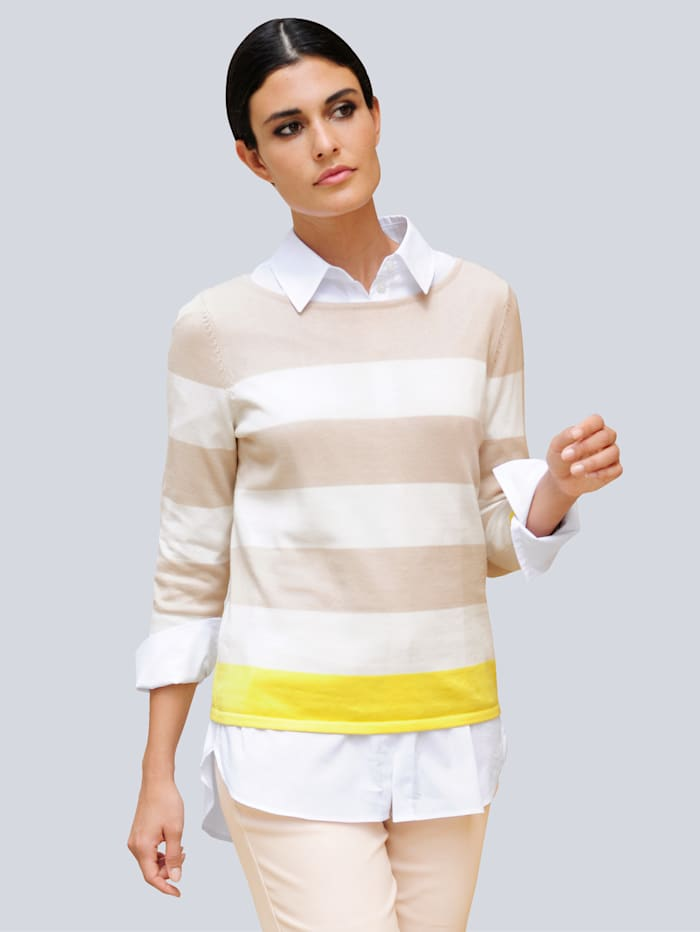 Alba Moda Pullover im Streifen-Dessin, Sand/Gelb/Off-white