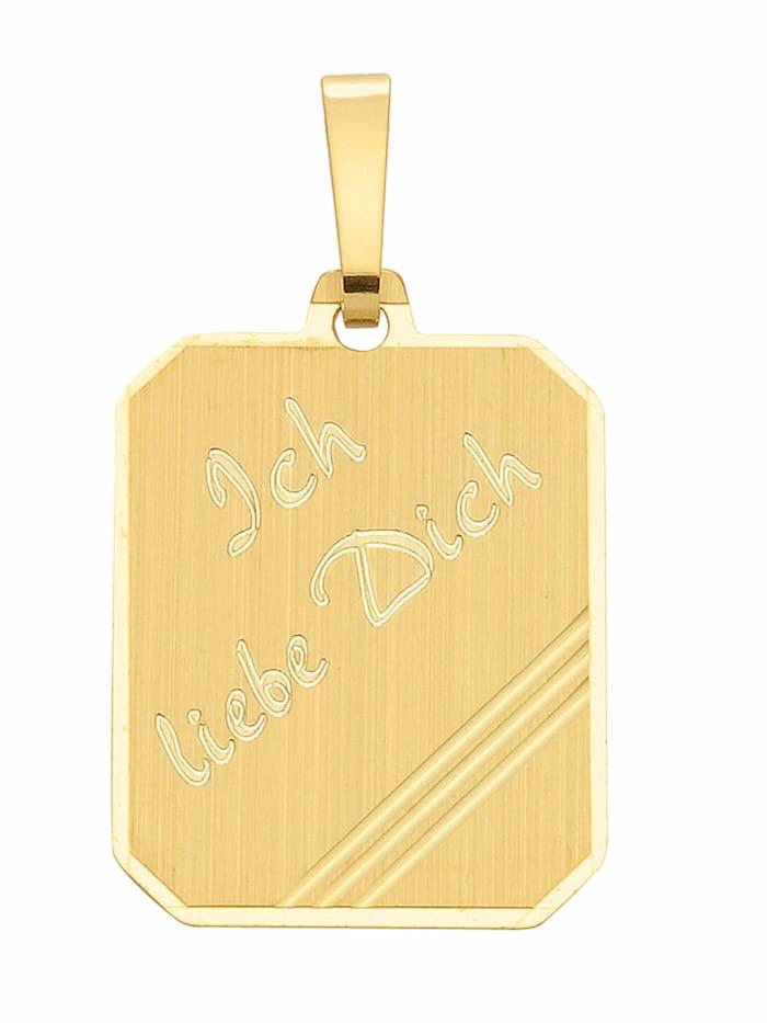 1001 Diamonds 1001 Diamonds Damen Goldschmuck 333 Gold Gravurplatte Anhänger, gold