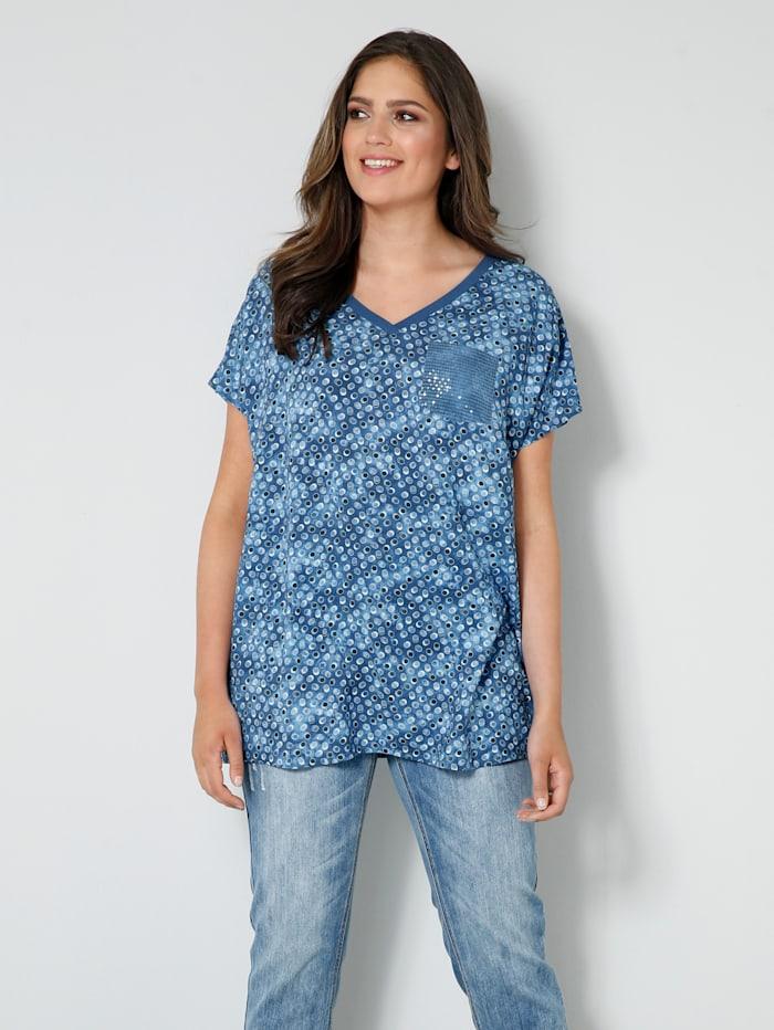 Janet & Joyce Blusen-Shirt mit Brusttasche aus Pailletten, Hellblau/Jeansblau