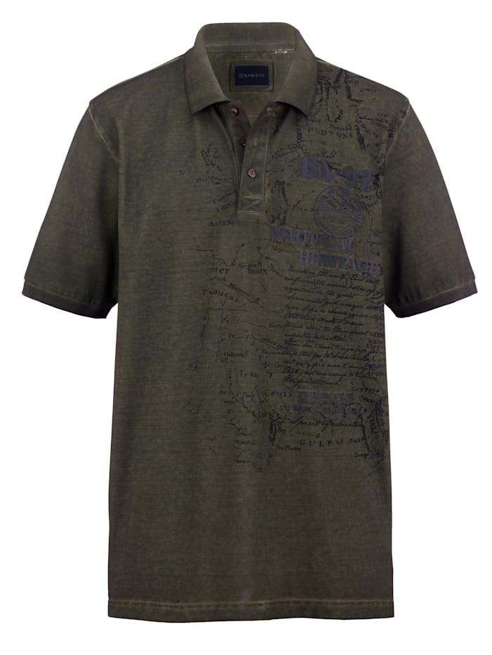BABISTA Poloskjorte med oil dye-farging, Oliven