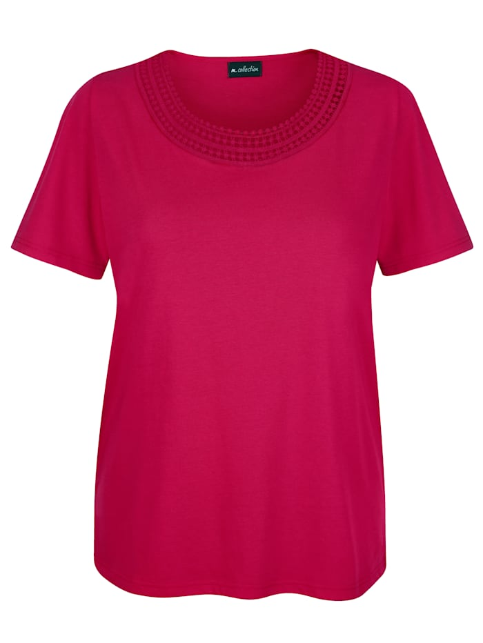m. collection Shirt mit hübscher Häkelspitze vorne am Ausschnitt, Pink